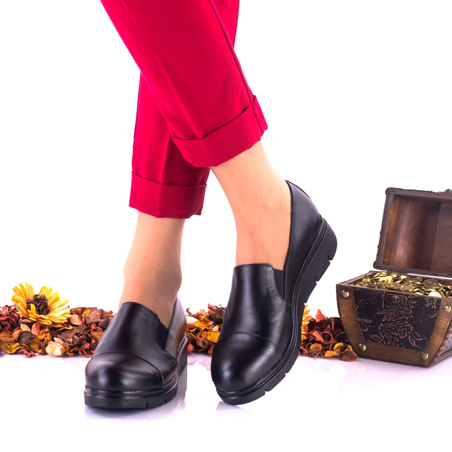 Pantofi dama negri, casual din piele naturala NA270NP
