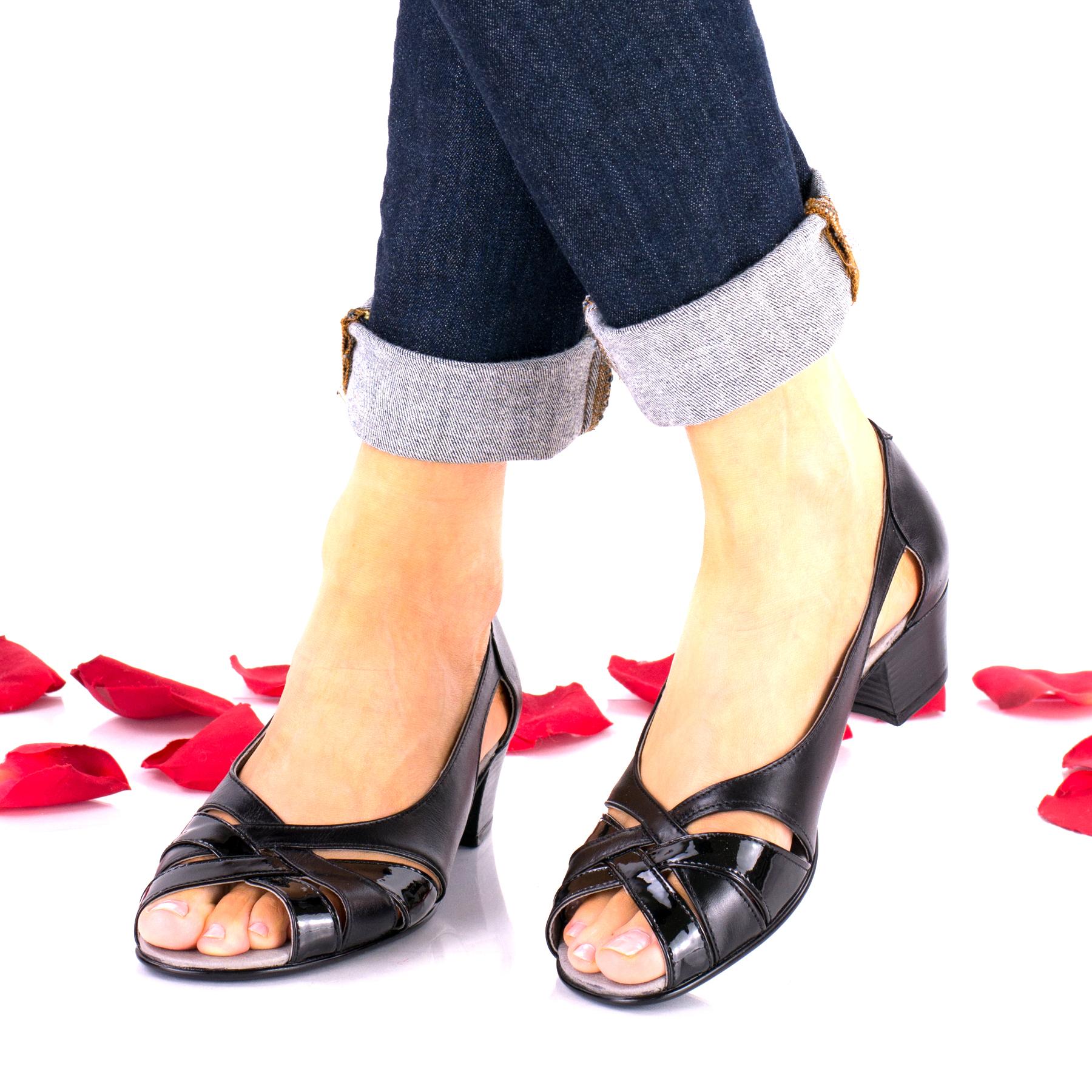 Sandale dama negre din piele naturala si piele naturala lacuita - NA227