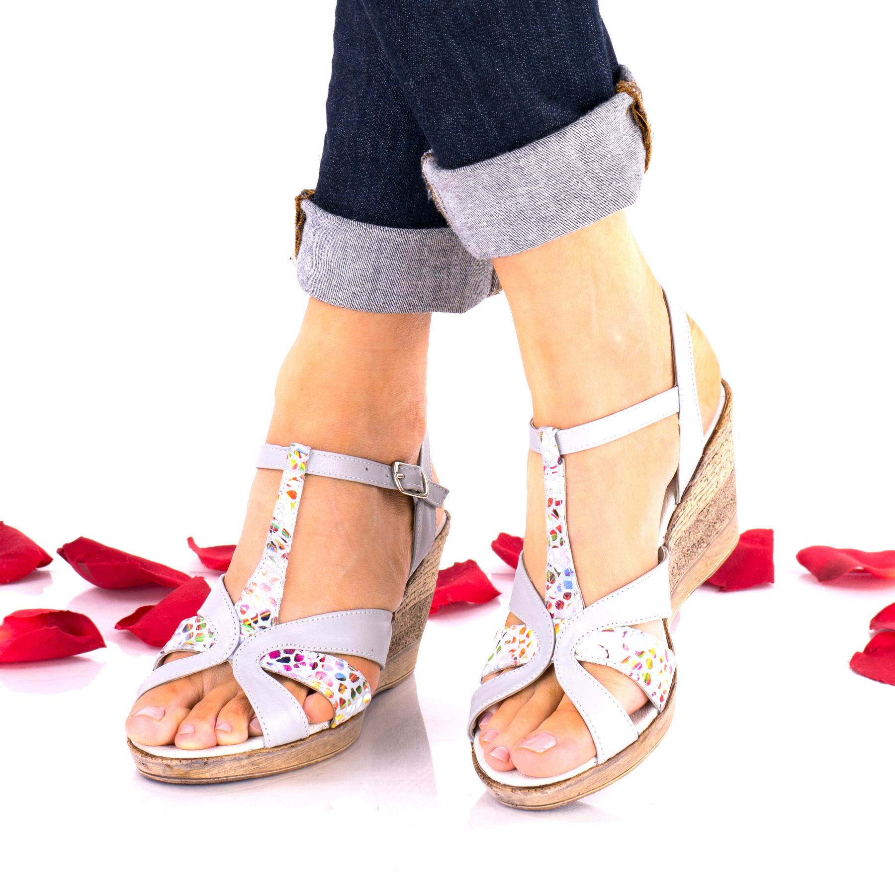 Sandale dama gri cu model din piele naturala - NA119COLORGRI