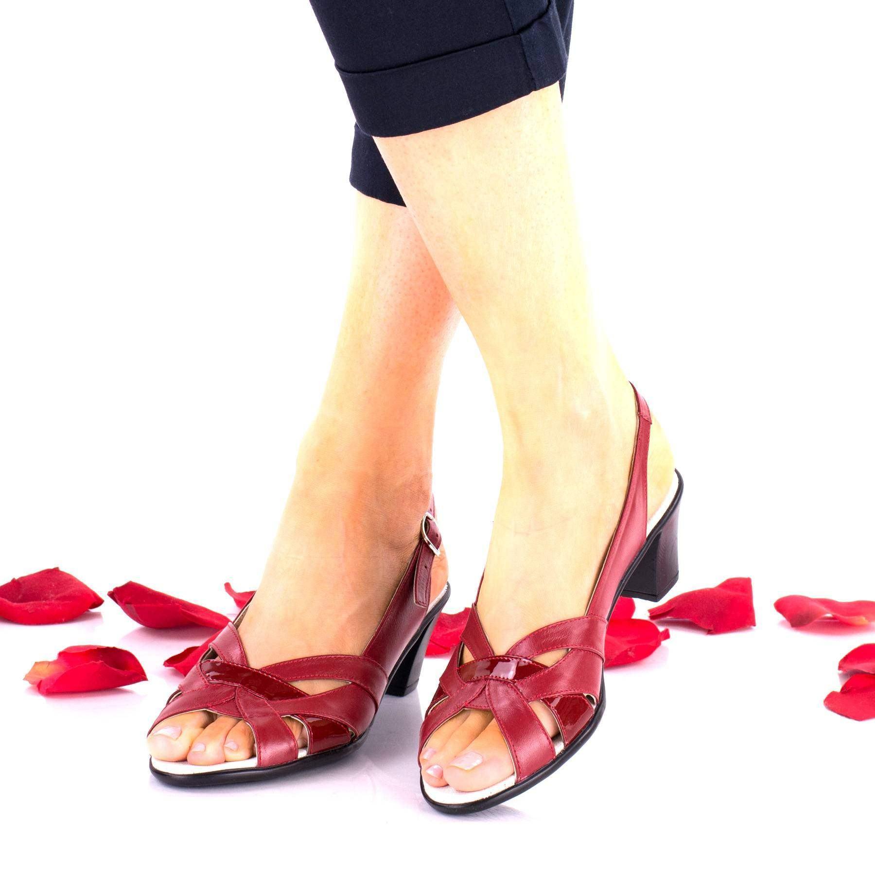 Sandale dama rosii din piele naturala, cu toc 5cm - NA229RPL