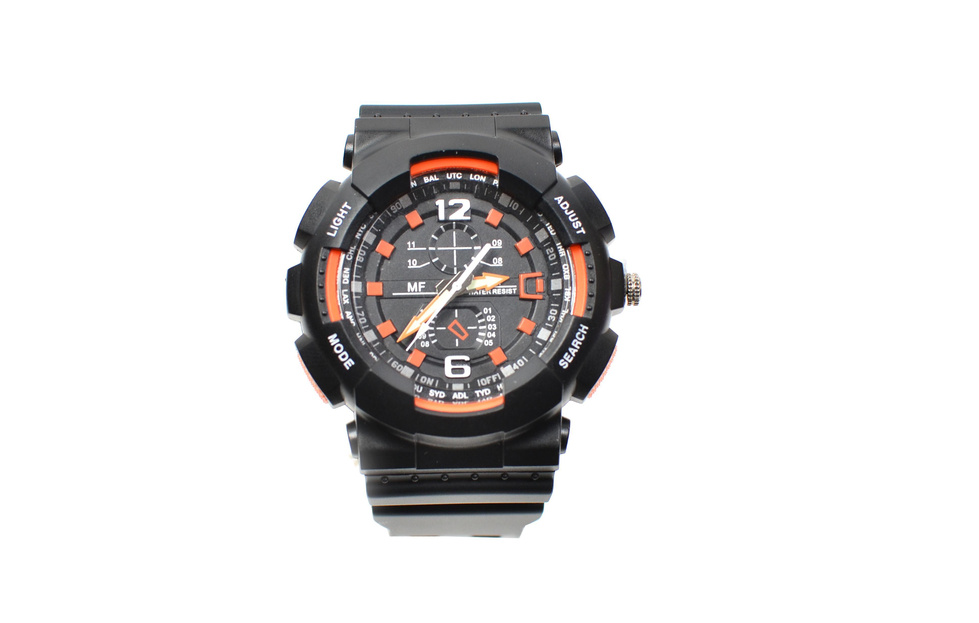 Ceas de mana barbati sport, negru cu portocaliu - MF9001Q
