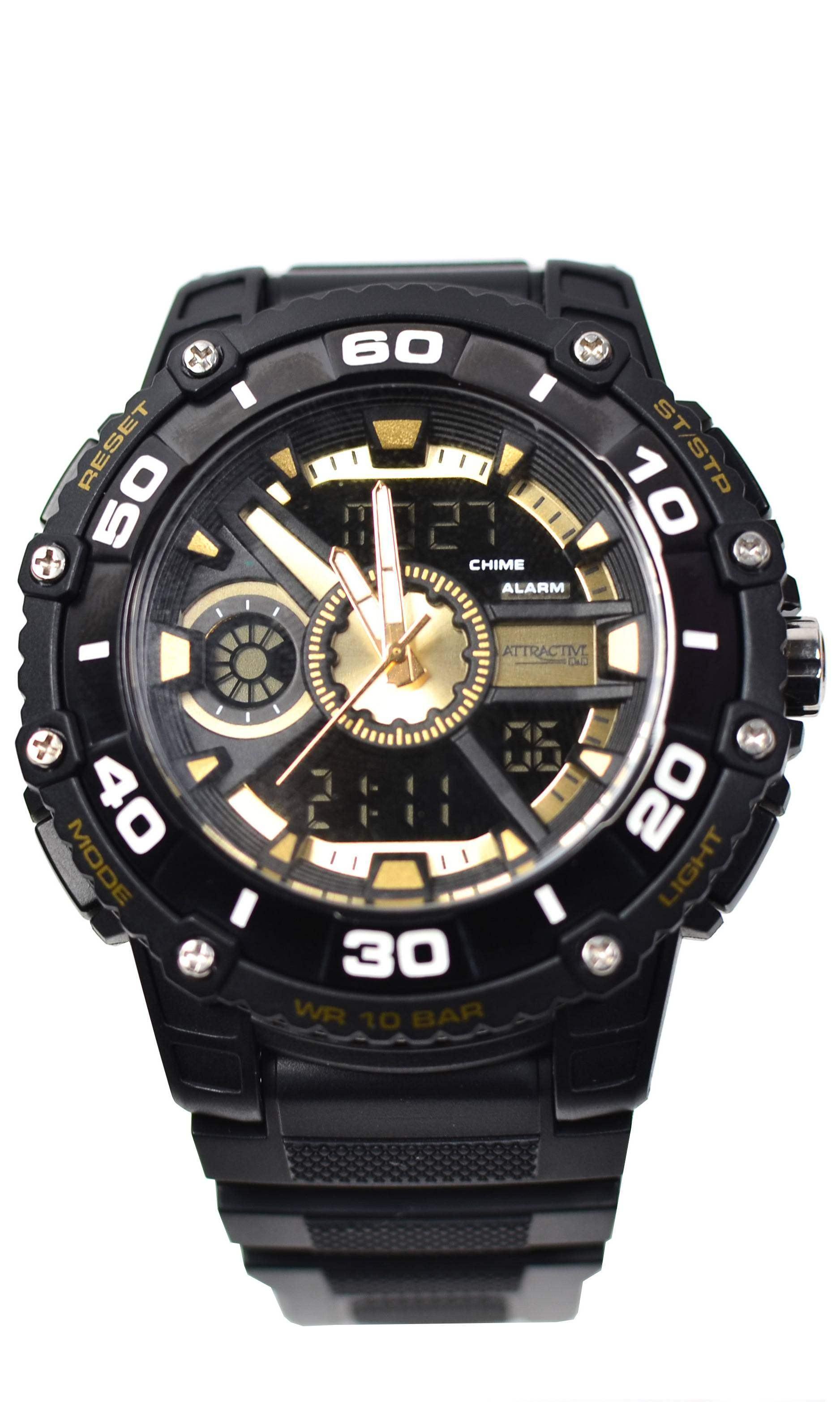 Ceas de mana barbati sport QQ Dual Time, cu sistem digital si analog negru cu auriu - TA9034