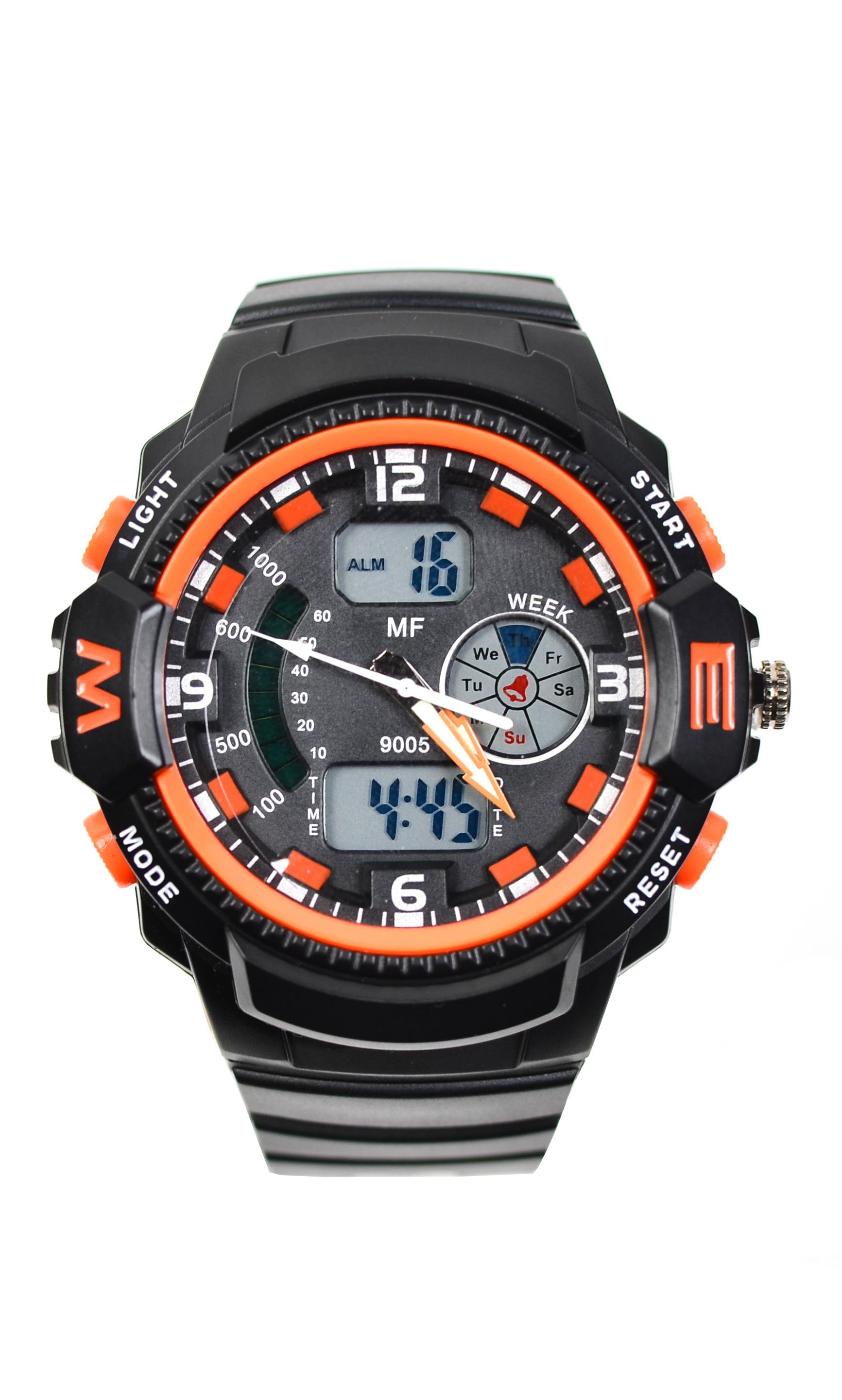 Ceas de mana barbati sport, cu sistem digitalanalog, negru cu portocaliu - MF9005T
