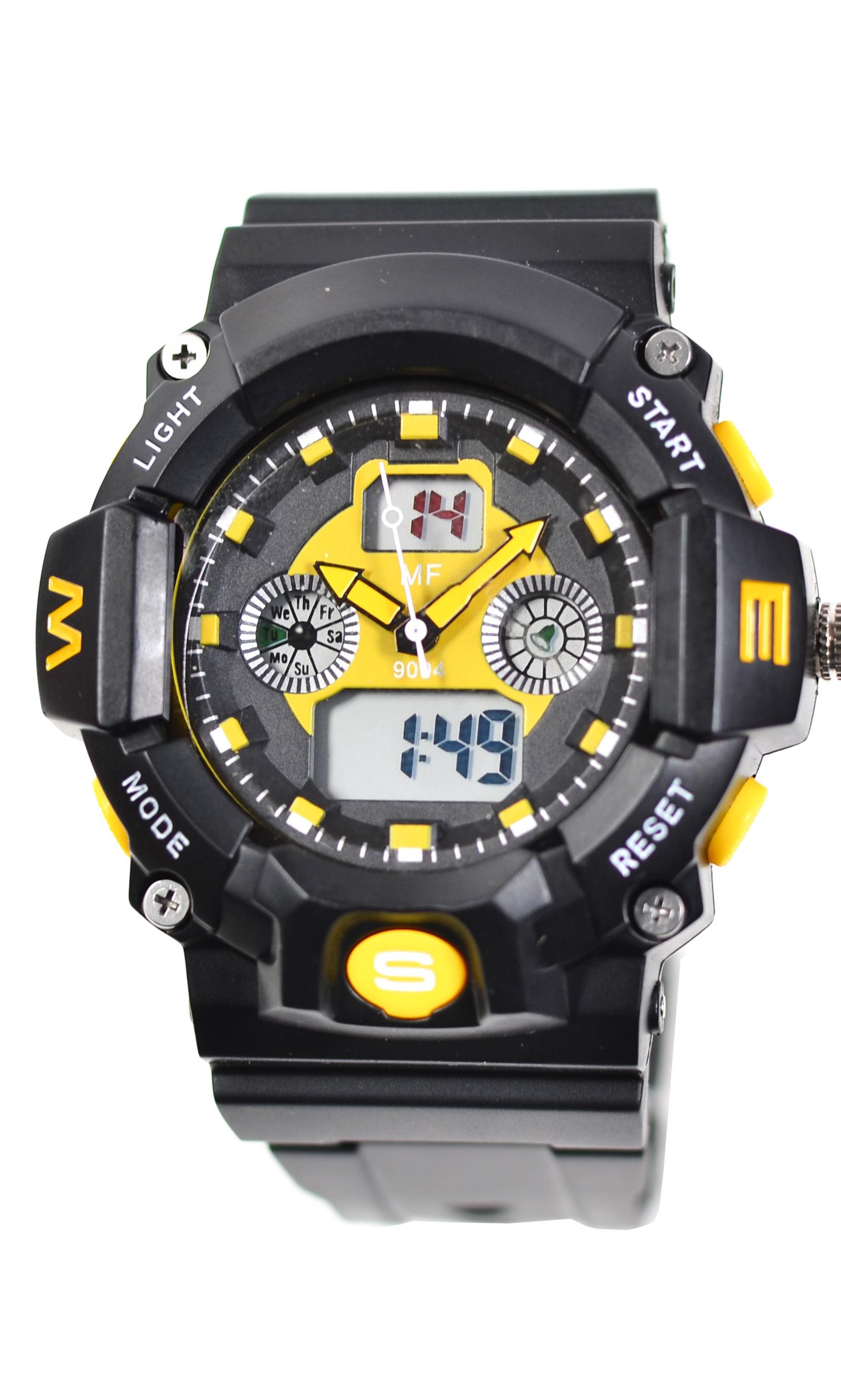 Ceas de mana pentu barbati sport, digitalanalog, negru cu galben - MF9004TG
