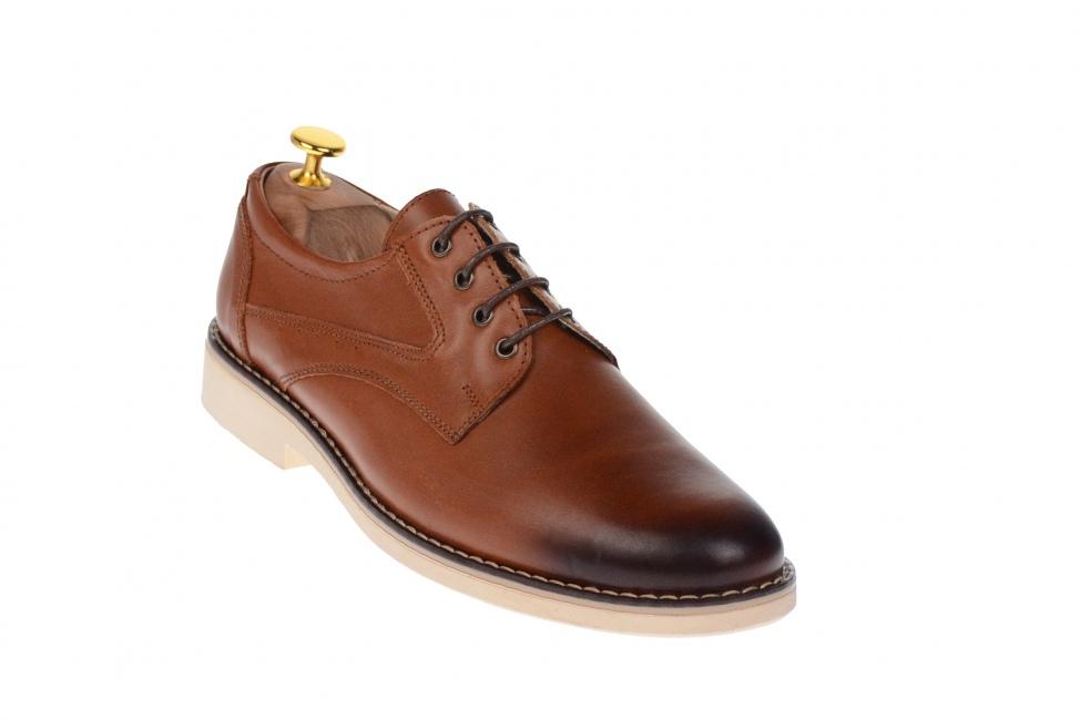 Oferta marimea 41 Pantofi barbati eleganti din piele naturala maro cu talpa alba FLORIAN