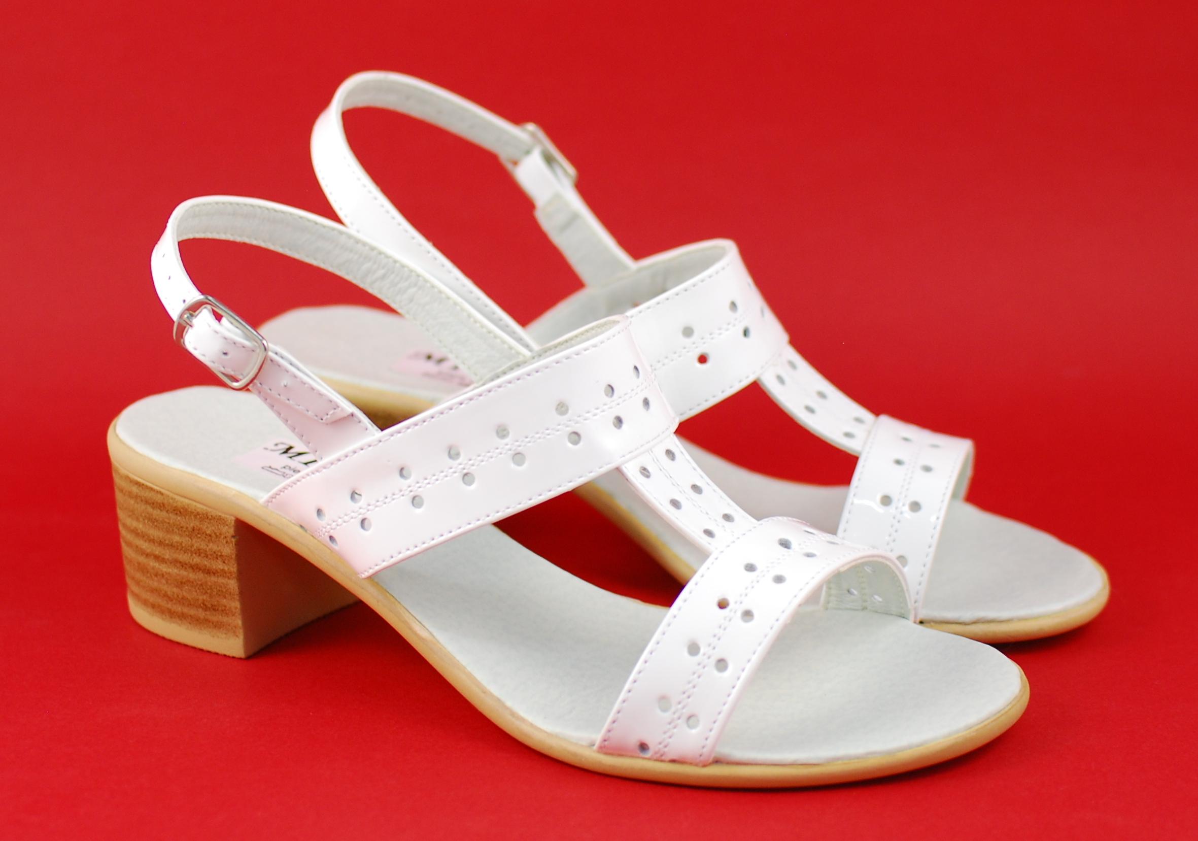 Sandale dama albe, din piele naturala lacuita S7ALBLAC