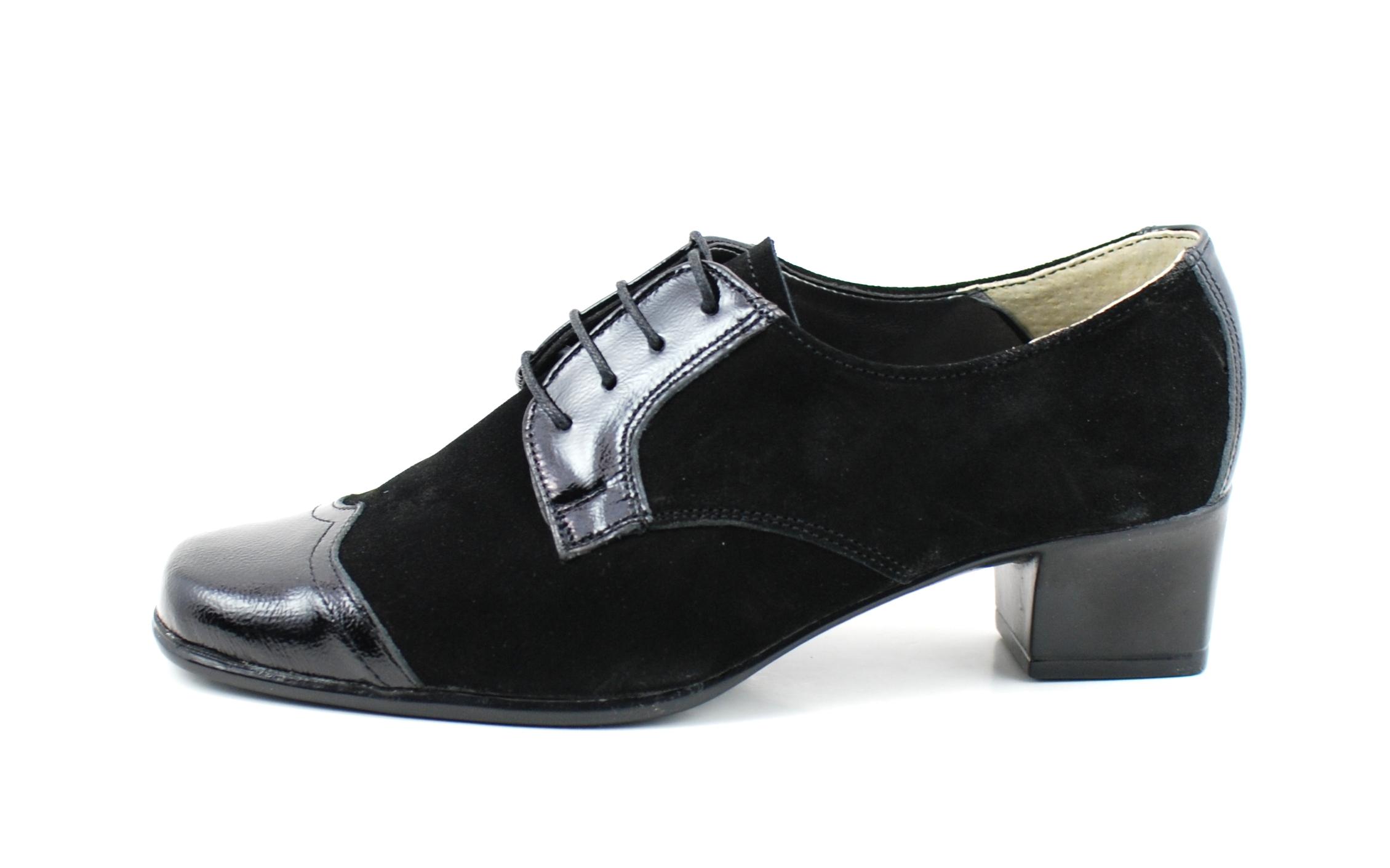 Pantofi dama piele intoarsa cu piele lacuita, casual - P26NLACVEL