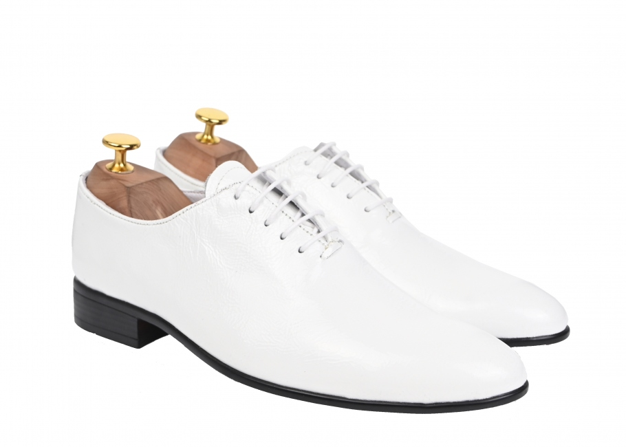 Pantofi albi barbati, eleganti, din piele naturala - ENZO ALB 2018