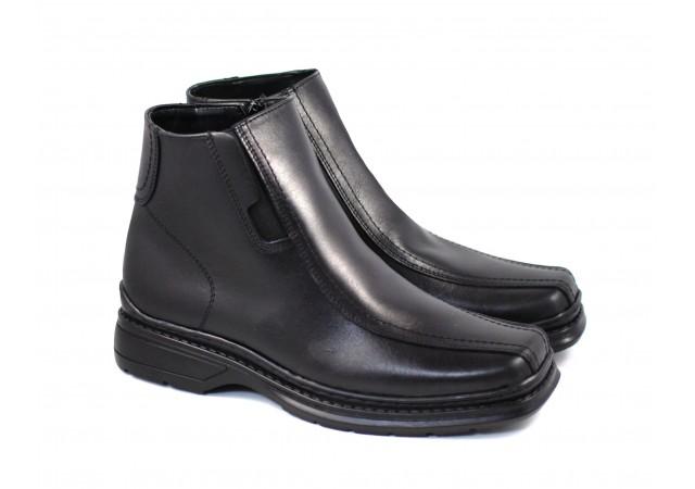 Ghete barbati din piele naturala casual, elegante cu fermoar - Negru LIRAFERN