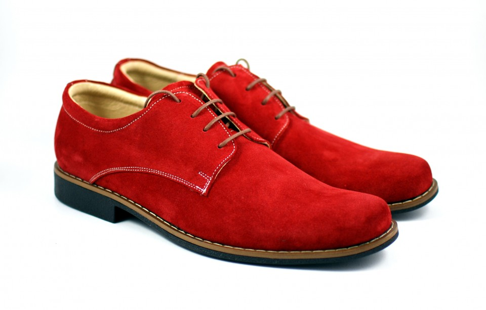 Pantofi barbati casual - eleganti din piele naturala intoarsa - Model ROSU