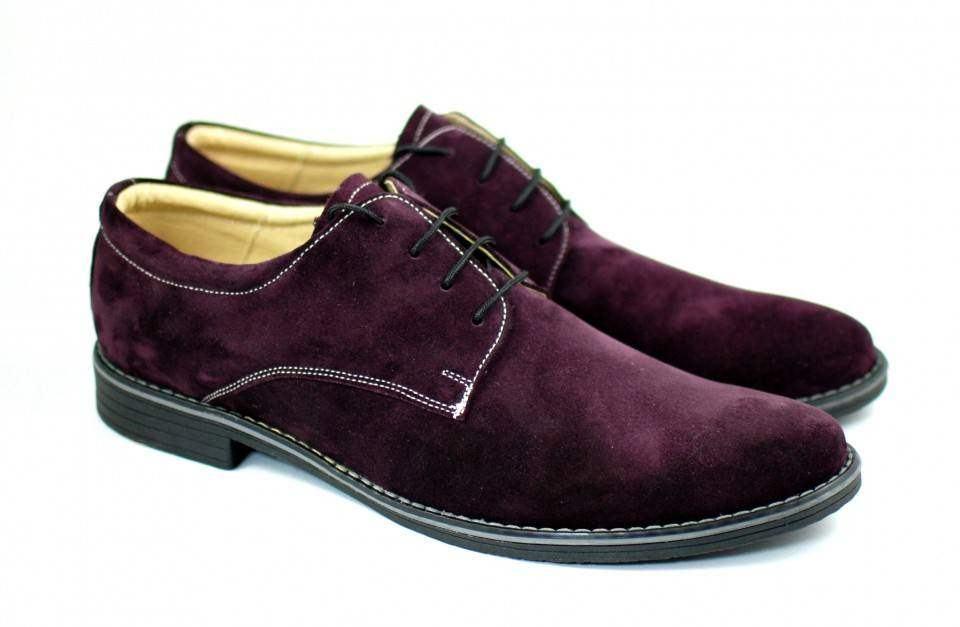Pantofi barbati casual - eleganti din piele naturala velur mov PAMOV