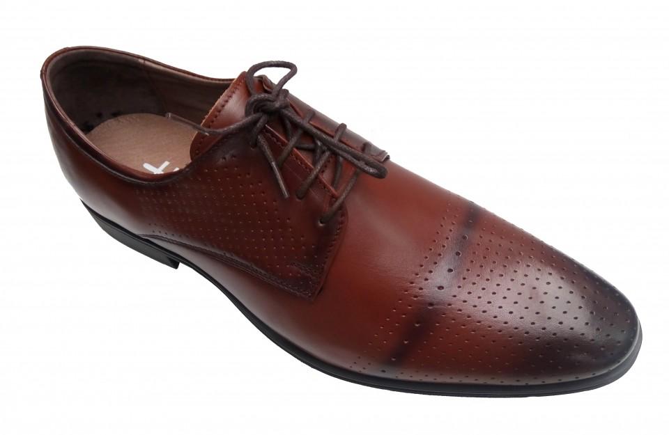 Pantofi barbati eleganti din piele naturala box, cu siret - Cod: LUCA21