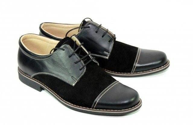 Pantofi negri barbati casual-eleganti din piele naturala