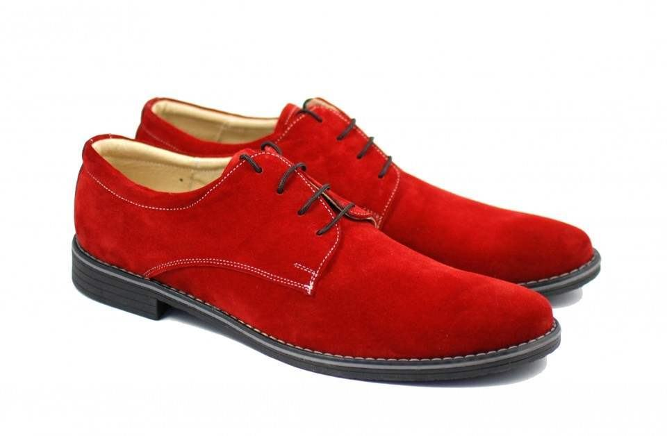 Pantofi rosii barbati casual - eleganti din piele naturala intoarsa - CARLO RS