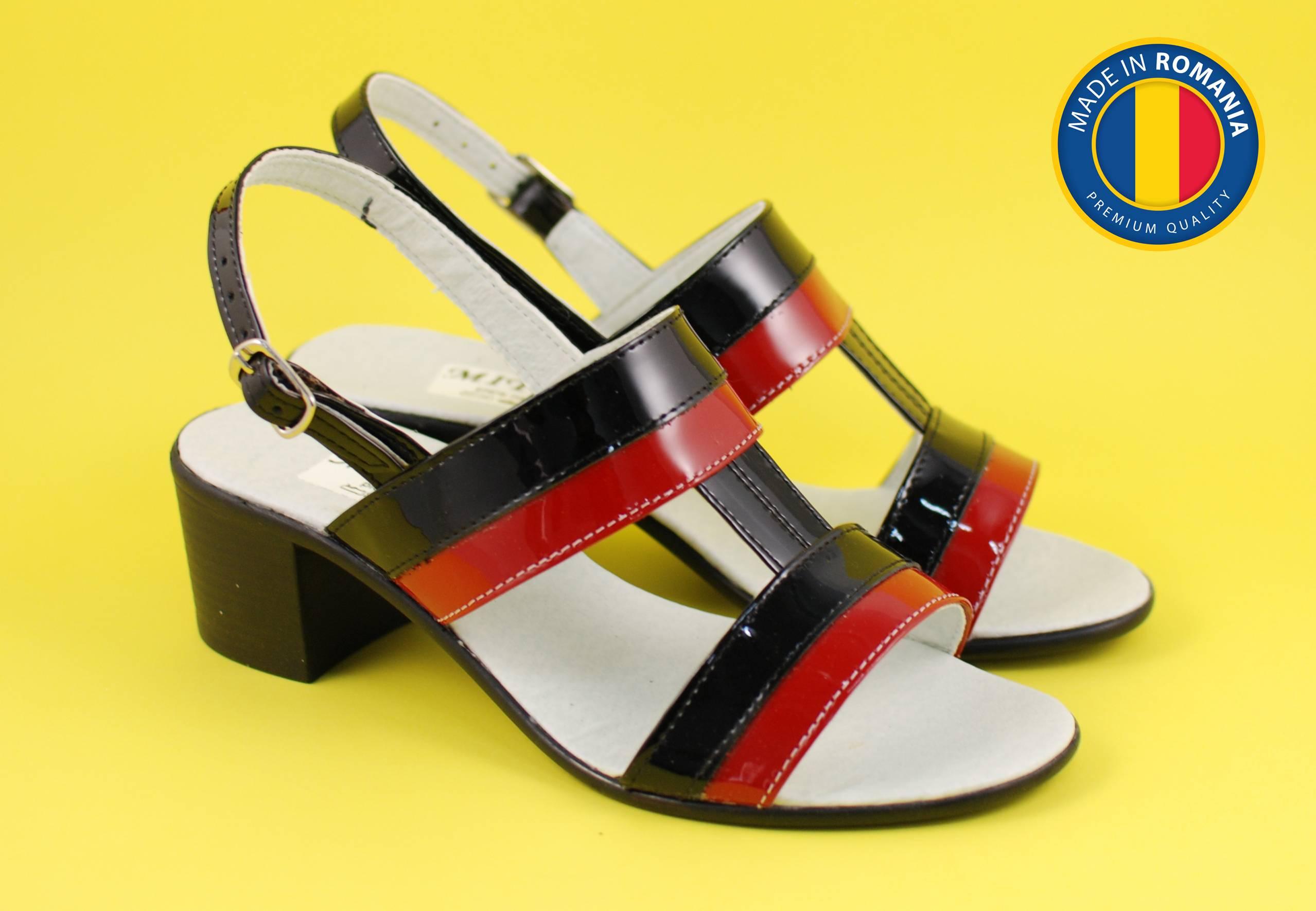 Sandale dama din piele naturala cu toc de 5cm - S7LACNR