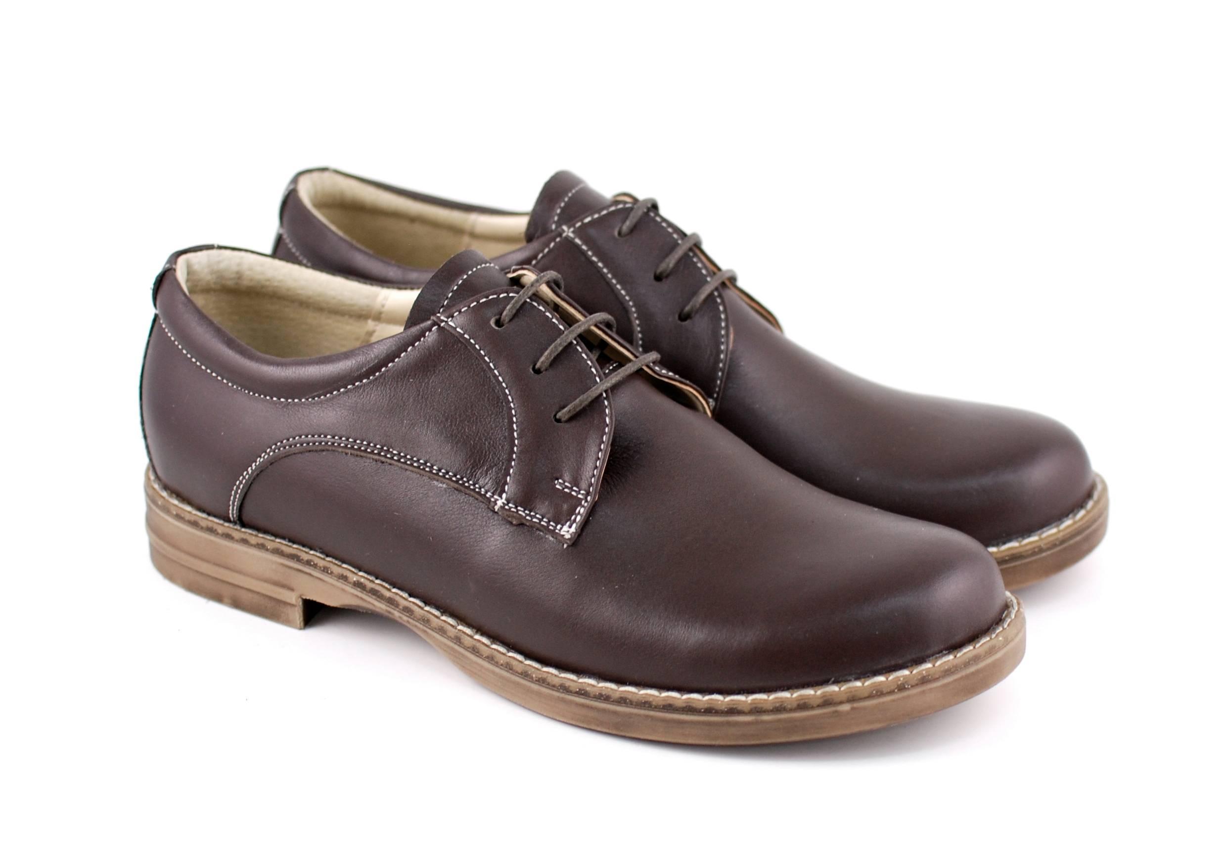Pantofi dama casual din piele naturala maro box - P10MBOX