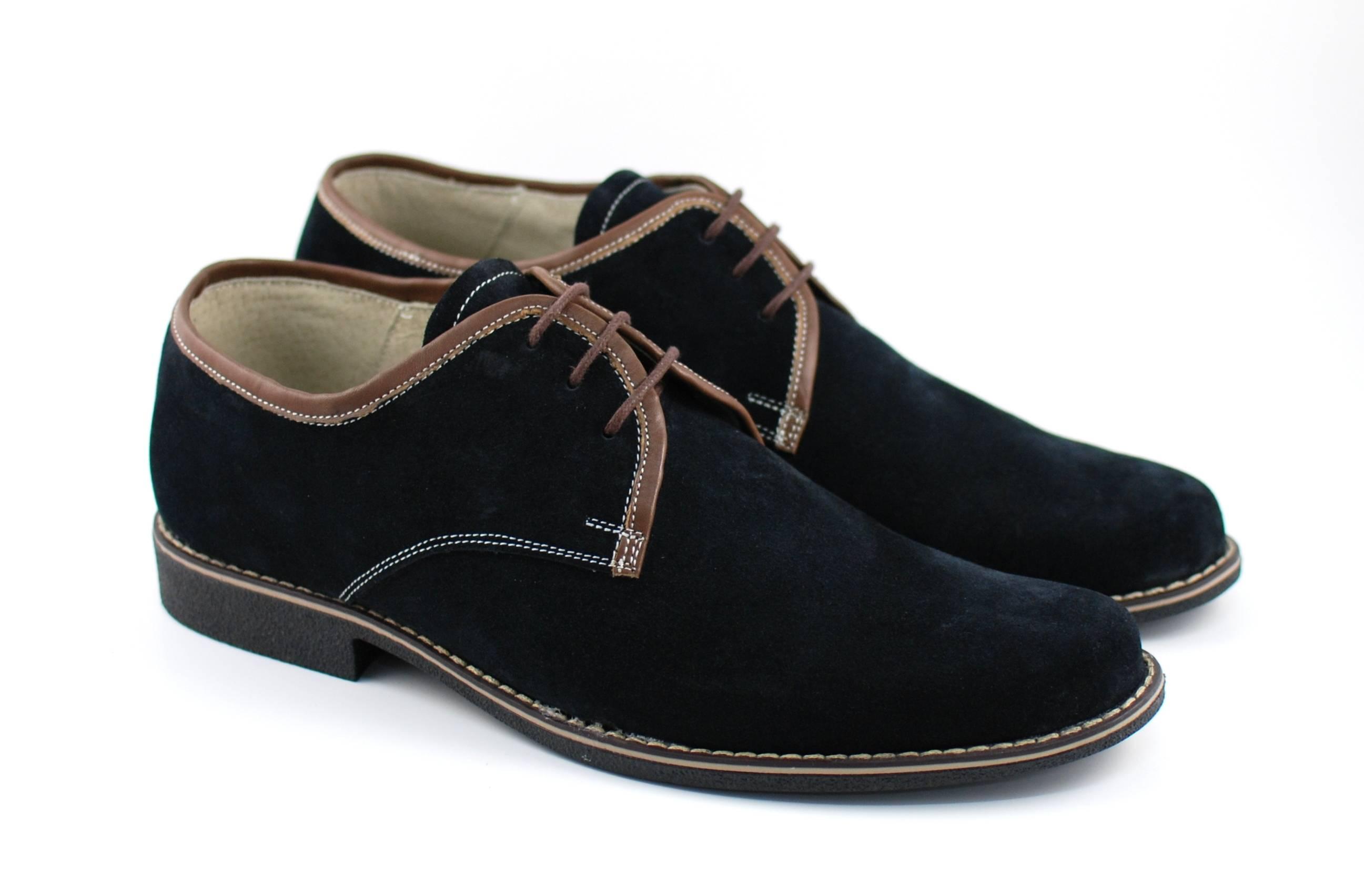 Pantofi barbati casual din piele naturala intoarsa, culoare neagra, P34NM