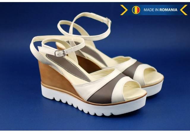 Lichidare marimea 38 Sandale dama din piele naturala cu platforma 7 cm - cod S106AG