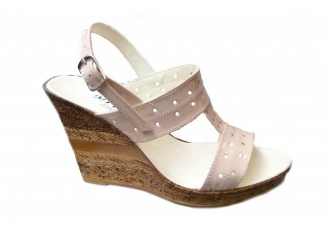 Sandale dama din piele naturala cu platforma S300LACBEJ