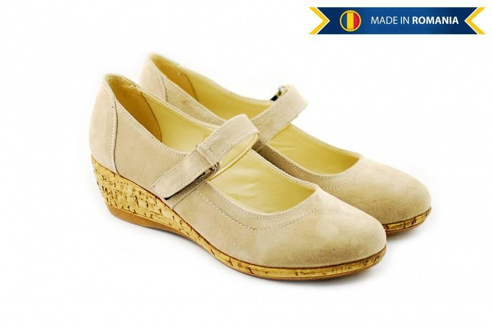 Pantofi dama casual din piele naturala intoarsa, Bej - Cod: ROV624B