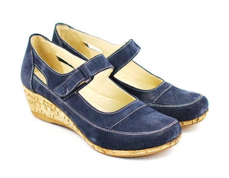 Pantofi dama piele intoarsa cu platforma, casual bleumarin - FOARTE COMOZI - Made in Romania P9154BL