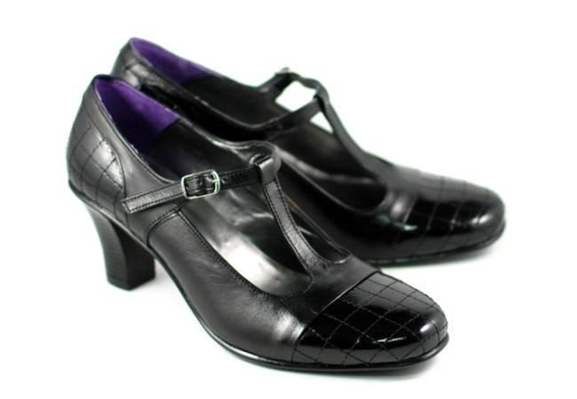 Pantofi dama din piele naturala cu varf lacuit - Made in Romania P50N