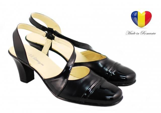 Sandale dama cu toc 5 cm din piele naturala - cod S12NLAC