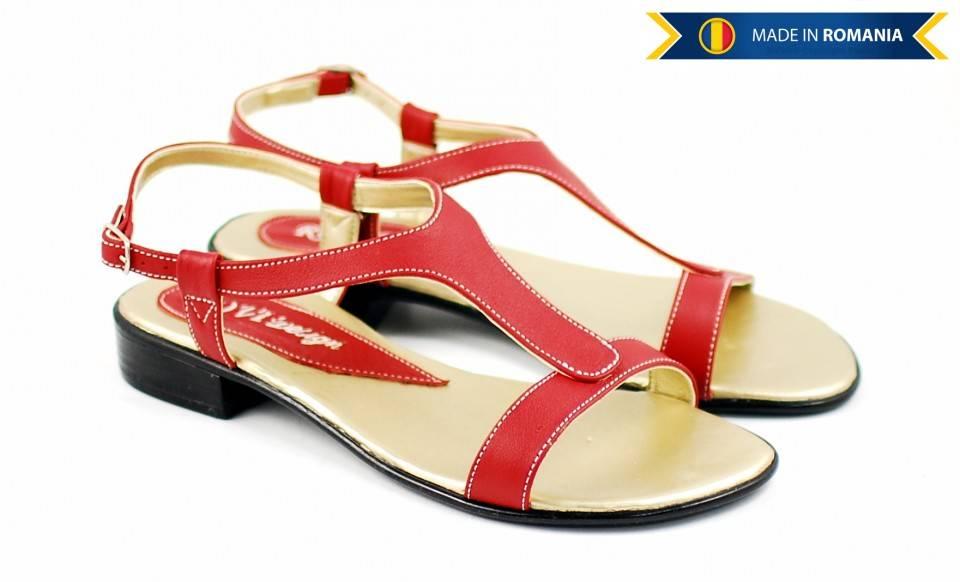 Sandale dama din piele naturala - Made in Romania S16RED