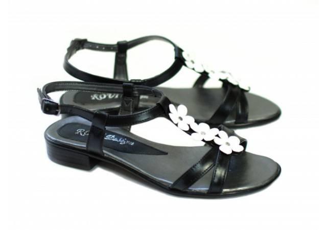 Lichidare marimea 38 Sandale din piele naturala (Negre cu floricele) - LSCORANA