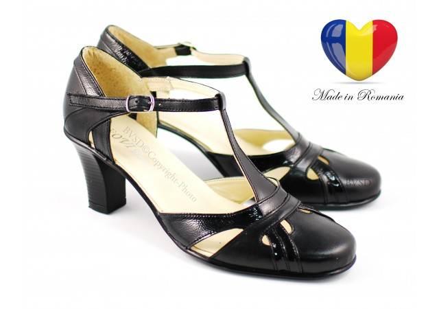 Sandale negre dama din piele naturala cu toc de 7cm - S48N