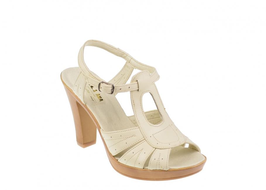 Sandale dama bej din piele naturala cu toc de 8 cm - S01BEJ