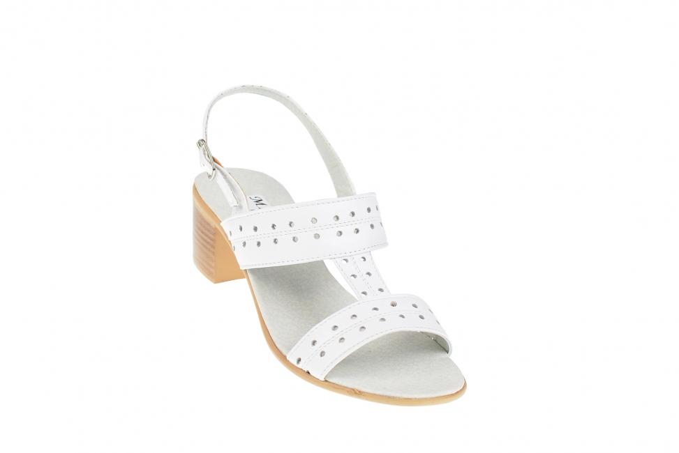 Sandale dama albe, din piele naturala box, foarte comode S7ABOX