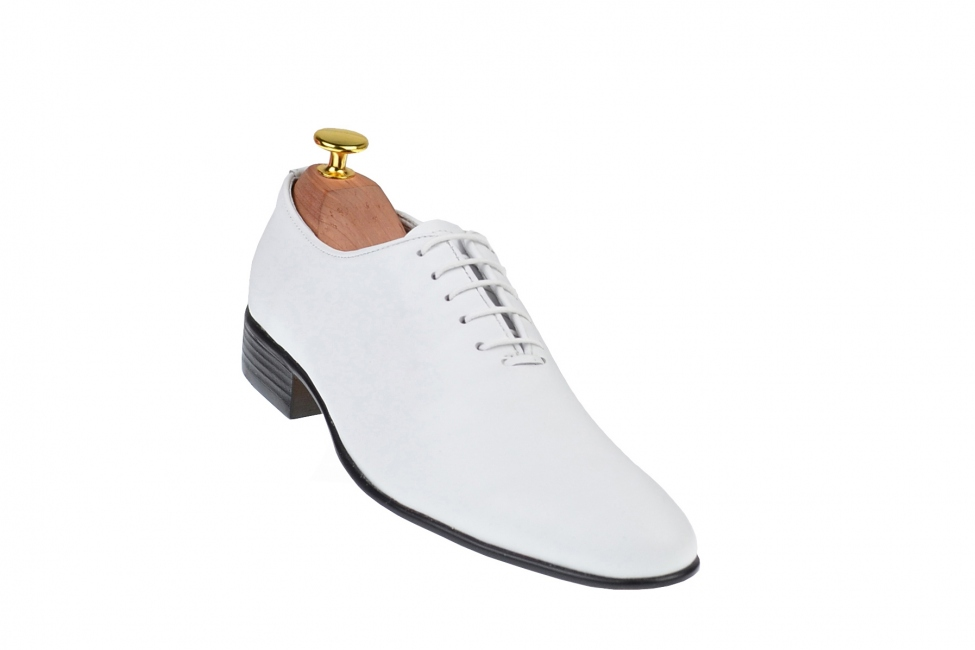 Oferta marimea 38, 43 Pantofi albi barbati eleganti din piele naturala - LENZOABOX