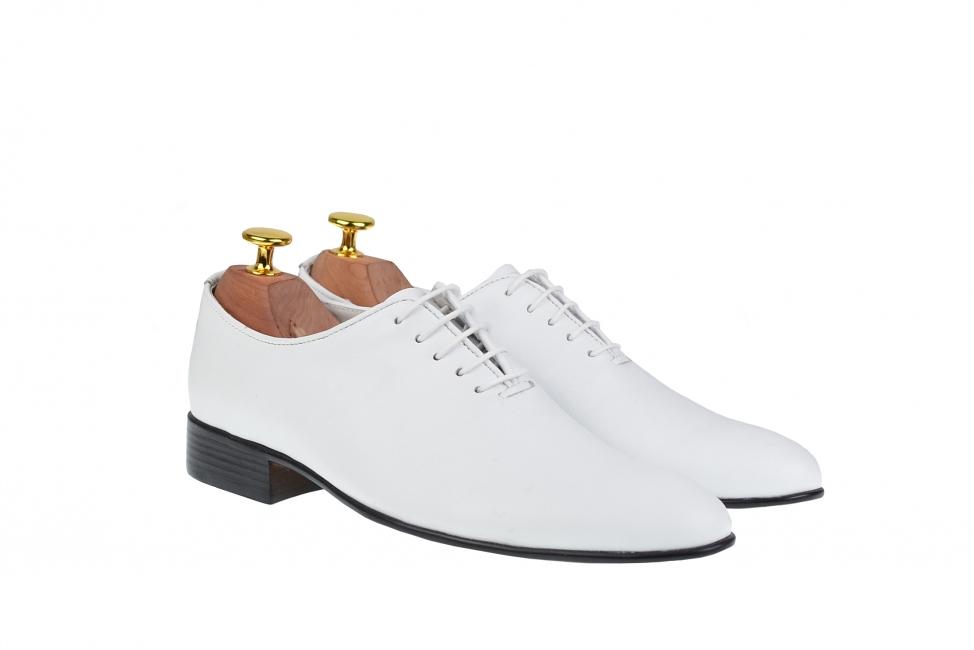 Pantofi barbati albi, eleganti din piele naturala alba - ENZOABOX