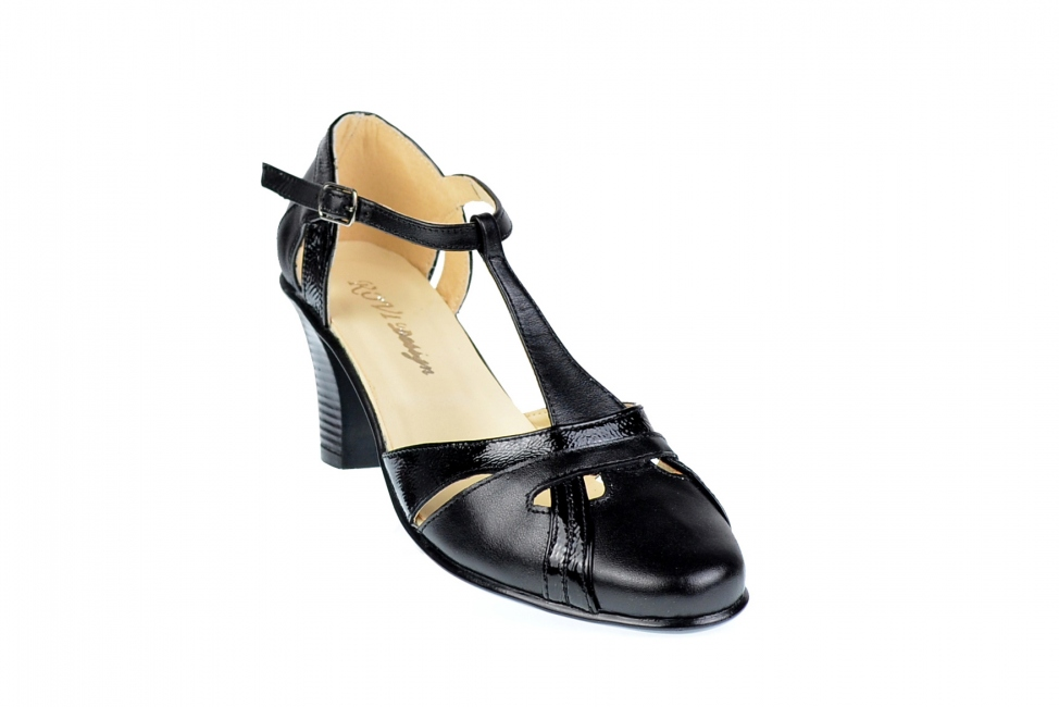 Sandale negre dama din piele naturala cu toc de 7cm - S48LACN